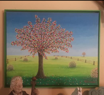 Amy Saxonmeyer's painting of a colorful interpretation of the Tree of Life